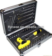 portable type aluminum tool box with die cut foam for hard