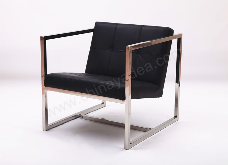 Square Chromed Steel Tube Frame Chair Angles Chair Leather Cushion