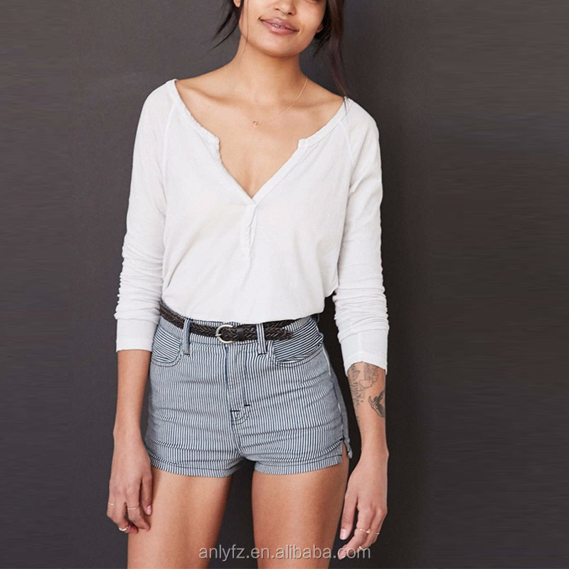 Anly wholesale elegant white shirts with long sleeve, v-neck high quality cheap wholesale henley shirts for women clothing