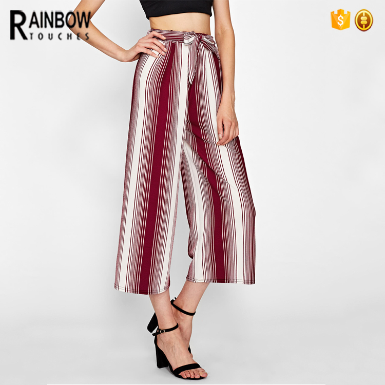 ODM Service Casual Tie Elastic Waist Women Striped Loose Pants