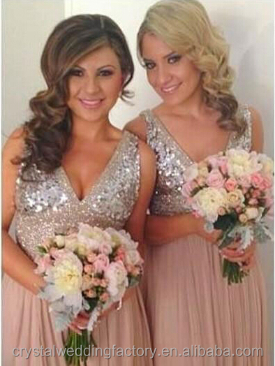 New arrival sequined beaded sexy V-neckline wholesale custom made Long Bridesmaid dresses CWFB2273