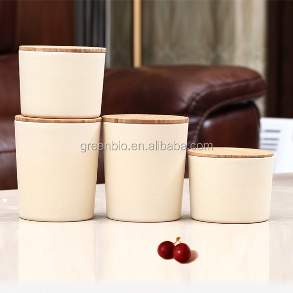 Eco-friendly and biogradable bamboo fiber condiment pot with bamboo lid, snack pot
