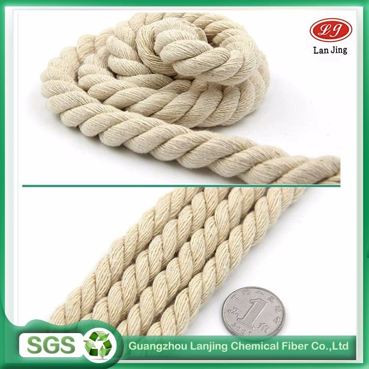 Custom big rope 3 strands raw white color twist cotton rope