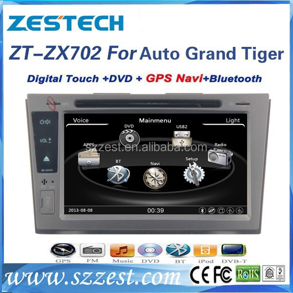 ZESTECH auto multimedia car gps navigation system for ZX Auto grand tiger car dvd radio with GPS/Bluetooth/A8 chipset