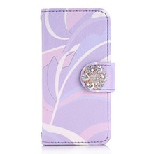 Bling diamond wallet leather case for iphone 5