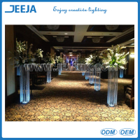 wholesale lighted aisle stands weddings/pillars stands flowers/crystal stands for weddings with rechargeable light