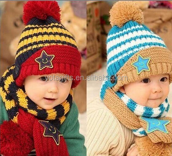 8 months to 5 years old 100% wool warm snow hat skiing hat baby winter hats scarf