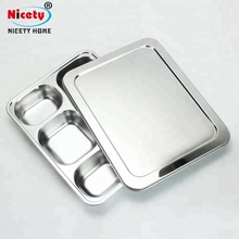 Rectangular Electrolytic stainless steel fast food tray / restaurant lunch tray / school dinner <strong>plate</strong> with PP lid