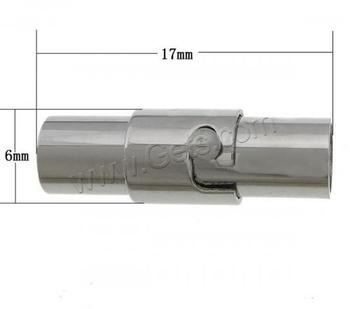 wholesale Round 304 Stainless steel clasp magnetic column cylinder original color for jewelry making 17x6x7mm 953021