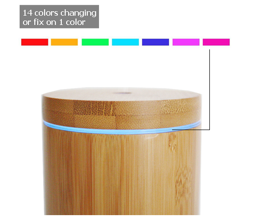 Bamboo led light nebulizer essential oil diffuser