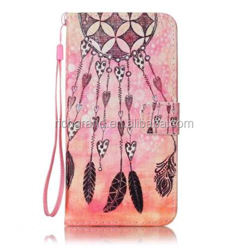 Multicolored Pattern Stand Flip PU Leather Card Wallet mobile phone Case For iphone