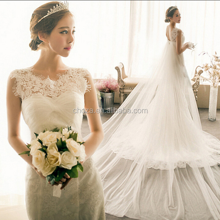 C21826B Korea Fashion Lady High End Lace Wedding Dresses Long Tail