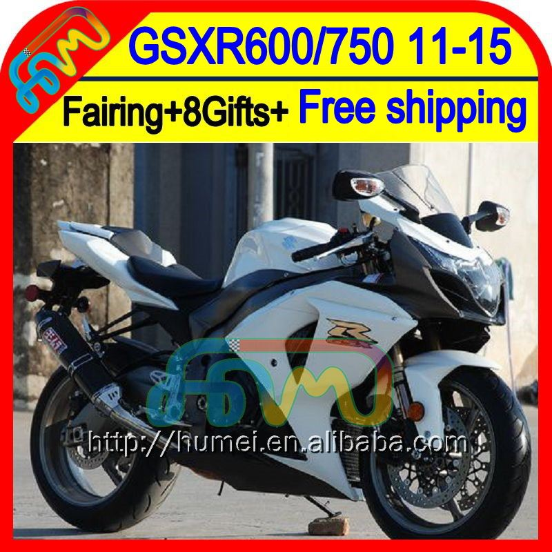 8Gifts For SUZUKI GSXR600 Black white 2011 2012 2013 2014 16HM66 GSXR 600 11 12 13 14 GSX R600 <strong>K11</strong> Gloss white GSX-R600 Fairing