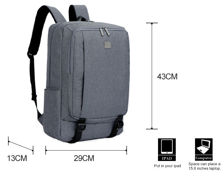 Factory direct Solid color waterproof 17'' backpack