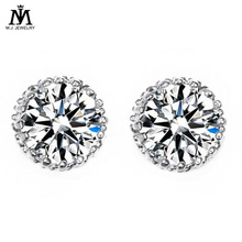 MJ Jewelry Multi Prongs 8mm 2ct Top Quality CZ Cubic Zirconia Stud Earring