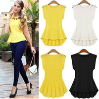 Women Vintage Lace blouse Peplum Frill Bodycon Casual Party Tank Shirt Tops Blouse in lace 2015 ZT000389 lace ropa mujer