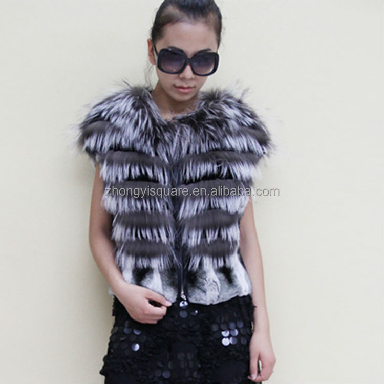 European style women grey silver fox and rabbit fur vest