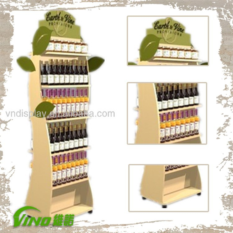 Bottle wood display leaf display rack , convenience store water bottle display rack