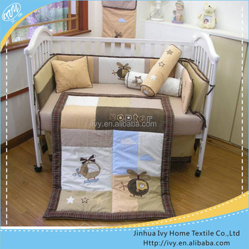Boys design cotton crib bumper set embroidery baby cot bedding set