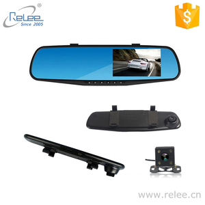 Relee hot selling cheap Dual lens 2ch 4.3 inch 1080P FHD rearview mirror two cameras car DVR dash cam