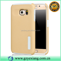 Gold Color Rubber Skin TPU PC Hybrid Holder Cover For Samsung S7 Edge Case Shockproof