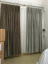 Velvet hotel curtain with blackout fabric lined