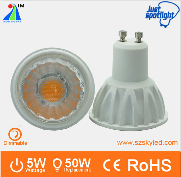 High quality epistar COB CRI>85 2700k dimmable gu10 led spot light 5w gu10 led 3000k dimmable 90 cri