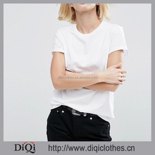 Guangzhou Low Price Wholesale Women Plain Cotton T Shirt Crew Neck Short Sleeves White T Shirt