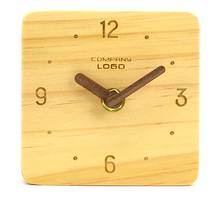 square wooden custom cheap table clock(TC-38B)
