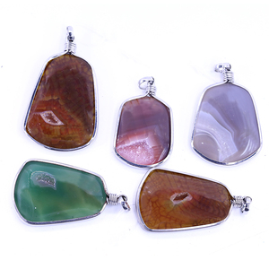 XULIN Natural Gemstone Plate Silver Irregular Durzy Agate Pendant
