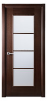 "30"" X 80"" Lux Wenge Brown Interior Wood Door Frosted Glass W/ Frame"