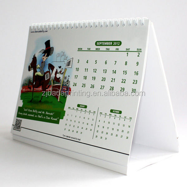 Wire-o Binding Desktop Calendar Stand For Promotion/Wholesale Calendar Printing