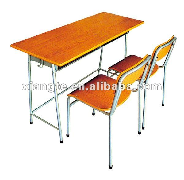 prefessional manufacture double wood metal school desk with chair / metal desk chair funiture