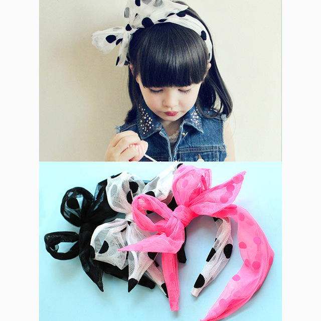 S32147W Baby Girl Lovely Dot Pin Wheel Polka Dots Ribbon Hair Bow Hairband For Children Boutique Kids Hair Bands