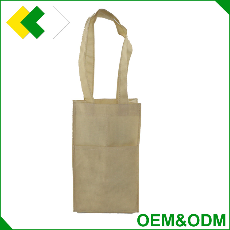 Cheap price factory direct sale non woven wine bag with pocket customized wholesale wine tote bag