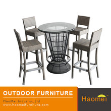 all weather rattan height bar stool round glass table topped outdoor bistro set
