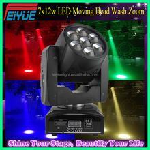 Professional Stage Lighting 4in1 RGBW 7*12w Mini LED Moving Head Wash Zoom