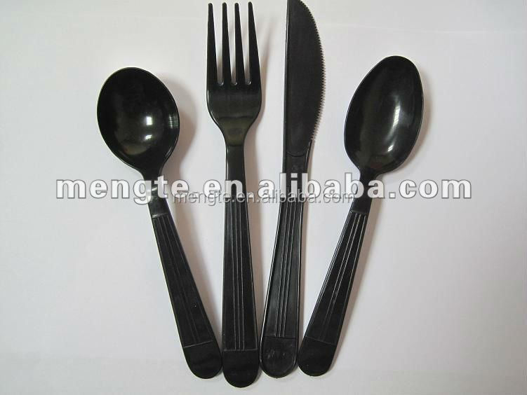 yiwu high quality spoon knife fork plastic heavy duty cutlery set