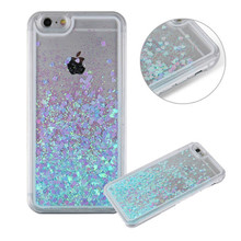 Evergreentech luxury glitter customized hard soft plastic material back cover cell phone case for iPhones 6 with quicksand