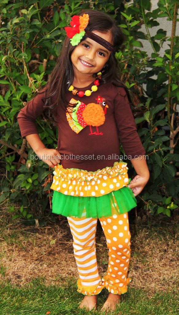 Posh Kid Girls Thanksgiving Day Sets Lovely Teen Girs Turkey Outfits Holiday Clothes