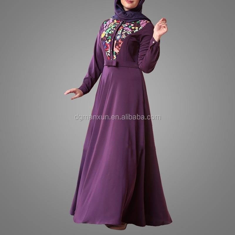 Elegant Muslim Islamic Evening Dress Lace Embroidery Women Dress Slim fit Abaya Dubai 2017 (1).jpg