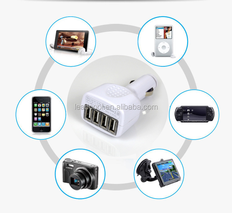 Hot factory 3.1 A 4 usb car charger, 4 ports car charger for iPhone iPad iPod