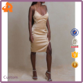 OEM wholesale small quantity silver sexy dress high quality slit satin slip dress