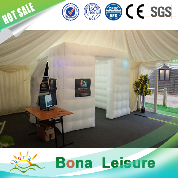 2016 Hot sale high quality portable and foldable inflatable photo booth with colorful LED