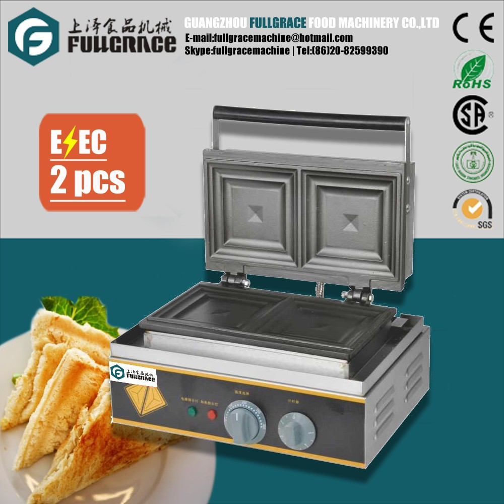 high quality commercial 2 Slice sandwich maker with timer and non-stick cooking plate