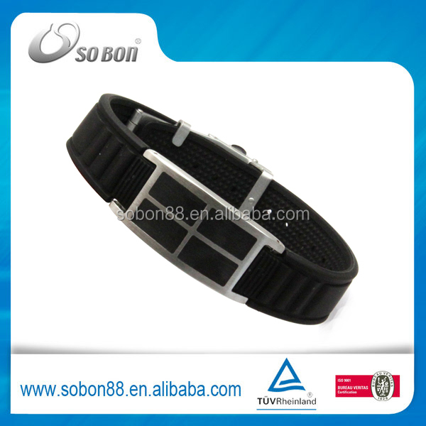 2015 Fashion Silicon Bracelet 316 Stainless Steel Bracelet Jewelry Bio Magnetic Bracelet