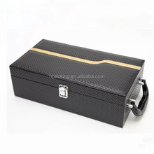 high quality luxury custom bottle black Pearl leather wine carrier wholesale