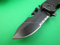 High quality OEM 7Cr17Mov stainless steel folding serrated knife UDTEK01942