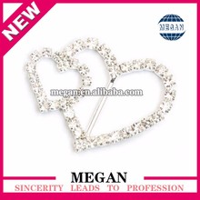 Fancy Heart Diamante Rhinestone Buckles Chair Sash Ribbon Slider For Wedding Party