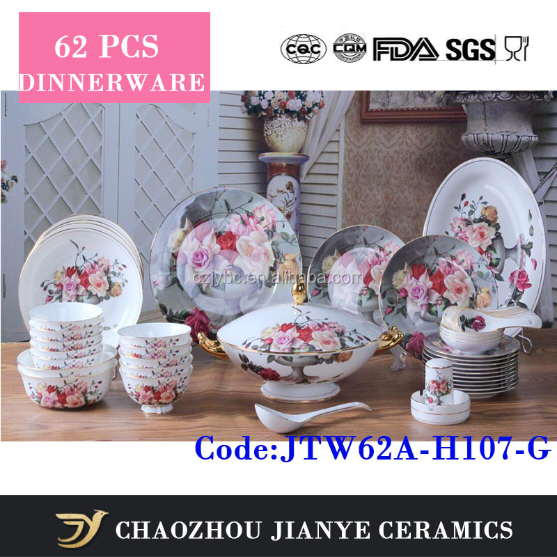 62 pcs luxury elegant fine bone china rose pattern porcelain dinnerware dinner set with gold rim